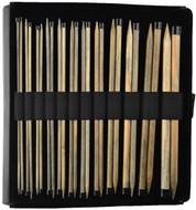 "LYKKE Driftwood 10"" Straight Single Pointed Knitting Needles Set (12 Pairs) - Black Faux Leather"