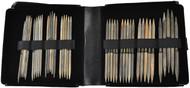 """LYKKE Driftwood 40-Pack 6"""" Double Pointed Knitting Needles Large Set (Sizes US 6 - US 13) - Black Faux Leather"""