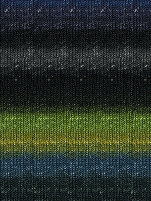 Noro #252 Black, Lime, Blue Silk Garden Sock Yarn (1 - Super Fine)