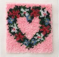 """WonderArt Heart Wreath 12"""" x 12"""" Latch Hook Kit"""