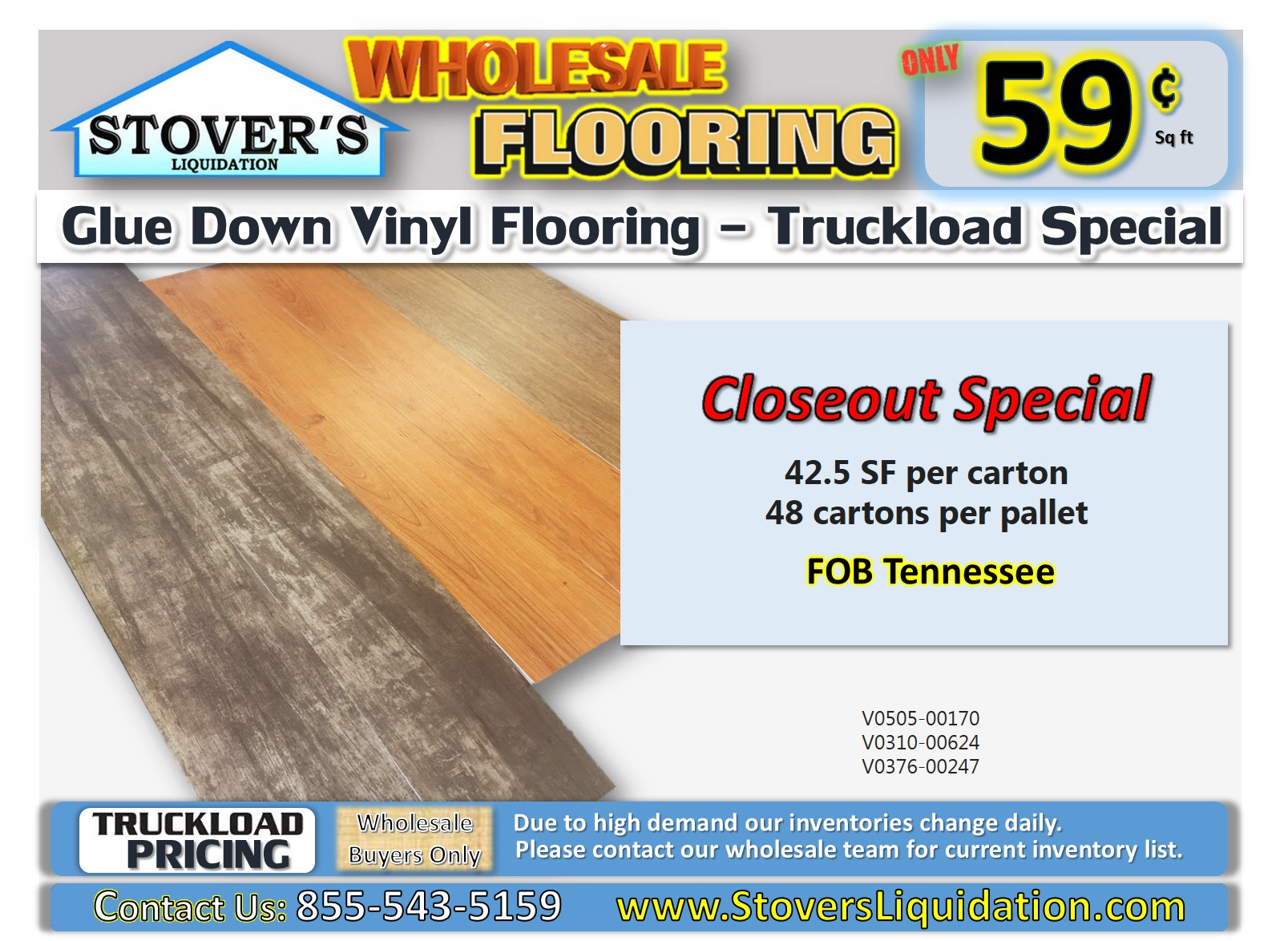 glue down vinyl | truckload | closeout special | wholesale