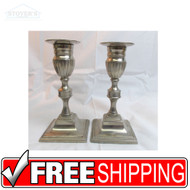 "Vtg Pair 6-1/4"" Brass Silver Candlesticks Mid Century Candle Holders pewter"