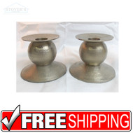 "Vtg Pair 3"" Heavy Brass Silver Candlesticks Mid Century Candle Holder pewter"