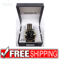 Men's Watch - Gruen II Charcoal Grey and Gold