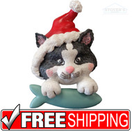 Ornament | Pouncing Cat w/ Santa Hat