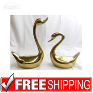 Set of Vintage Hollywood Regency Brass Swans Decorative Center Pieces