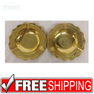 Set of Vintage Hollywood Regency Solid Brass Cigarrette Ashtrays NEW