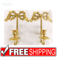 "VTG Pair 9"" Brass Wall Sconce Candle Holder candlestick Hollywood Regency"