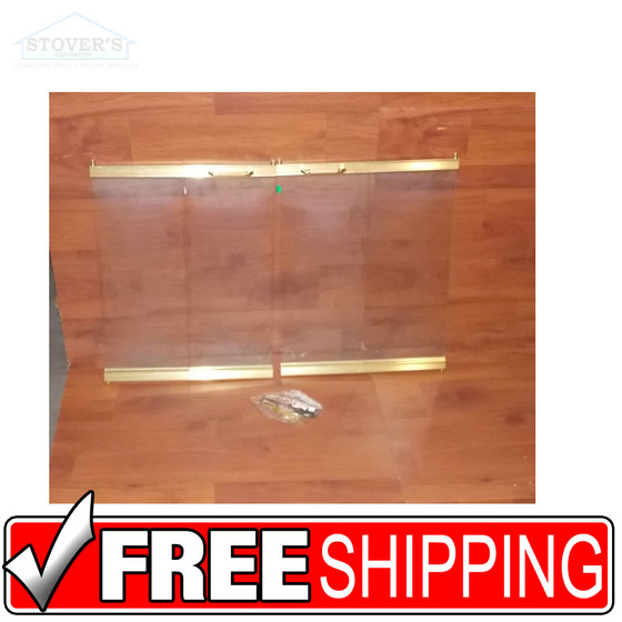 Temco Brass Trim Tempered Glass Fireplace Doors Cx 36
