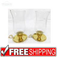 "Vtg PAIR 7"" Glass & Brass Candlesticks candle holder Hollywood Regency"