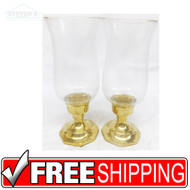 "Vtg Pair 8"" Glass & Brass Candlesticks candle holder Hollywood Regency"