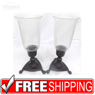 "Vtg Pair 11"" Glass & Bronze Candlesticks candle holder Hollywood Regency"