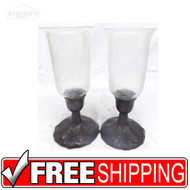 "Vtg Pair 11"" Glass & Bronze Candlesticks candle holder Hollywood Regency 150904889407"