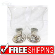 "Vtg Pair 11"" Glass & Silver Candlesticks candle holder Hollywood Regency"