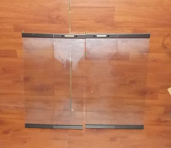 Temco Black Trim Tempered Glass Fireplace Doors Cx 3629
