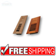 "WOOD LOUVER FLOOR REGISTER VENT - 2-1/4"" X 12"""