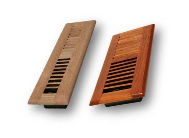 Wood louver floor register vent 6 x 12 stover 39 s for 6x12 wood floor register