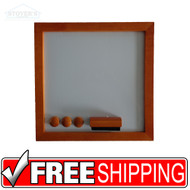 White Dry Erase Board | Medium Oak | Free Shipping