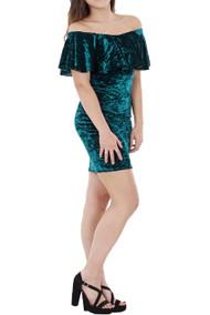 Connie  Crushed Velvet Bardot Dress luv2nv