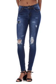 Vivien Dark Blue Distressed Skinny Jeans luv2nv.com