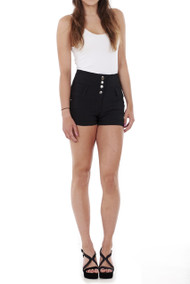 Dina High Waist 4 Button Shorts-Luv2nv.com