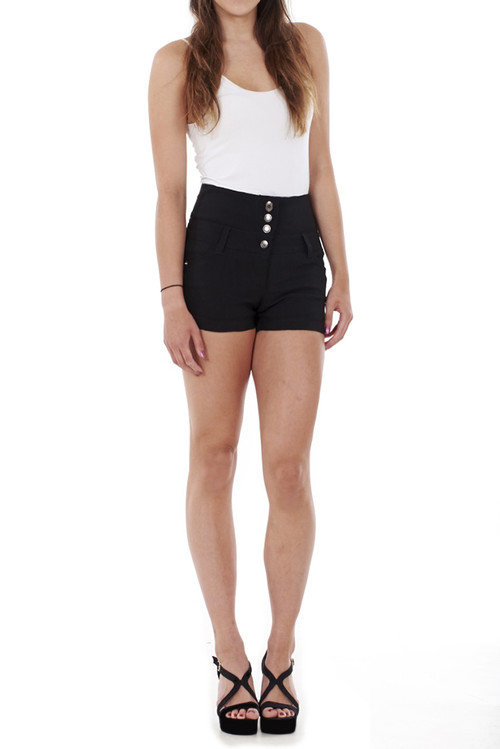 Dina High Waist 4 Button Shorts