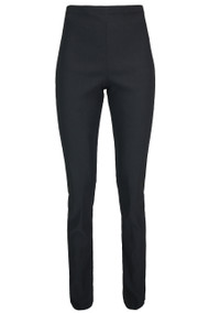 Ladies Plain High Waist Skinny Trousers - Black