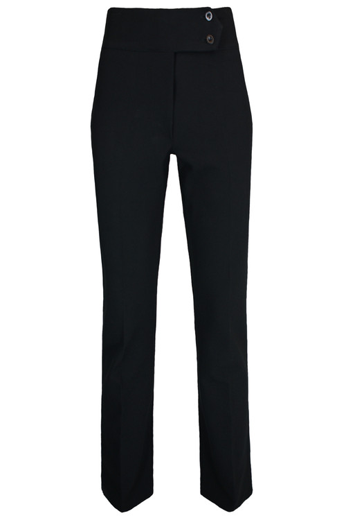 Ladies 2 Button High Waist Trousers – Black