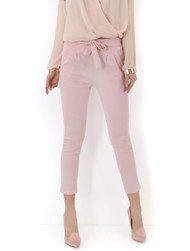 Daisy Paper Bag Tie Waist Trousers-Nude