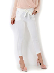 Daisy Paper Bag Tie Waist Trousers-Cream