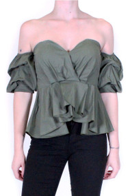 Khaki Ruffle Of The Shoulder Top, Luv2nv.com,
