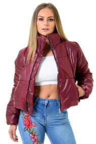 Wine Crop Zip Up Puffer Jacket, Puffer Jacket, Crop Puffer Jacket, Luv2nv Jackets,