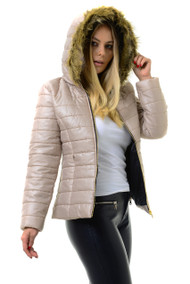 Beige Fur Trim Hood Puffer Jacket