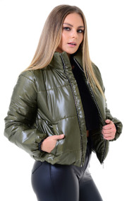 Olive Crop Zip Up Puffer Jacket