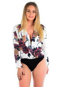 Ava Flower Print Plunge Satin Bodysuit-White