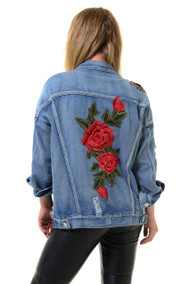 Pia Distressed Floral Denim Jacket