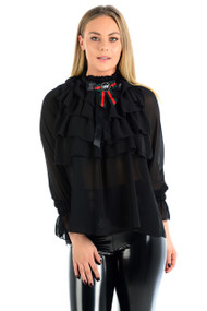 Veena Sheer Ruffled Blouse-Black