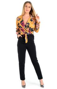 Jasmine Satin Plunge Wrap Front Floral Jumpsuit - Mustard