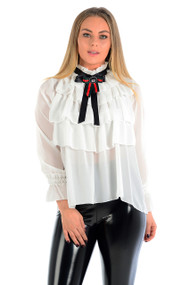 Veena Sheer Ruffled Blouse-White