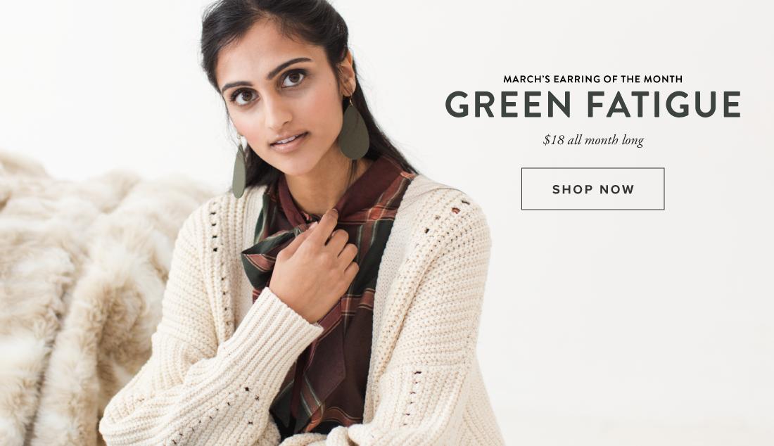 Shop Green Fatigue Leather Earrings