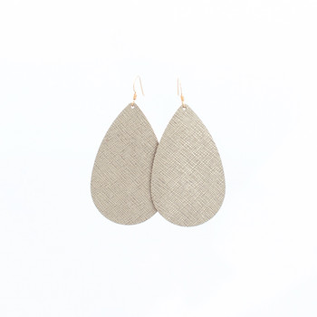 Luxe Linen Nickel and Suede Leather Earrings