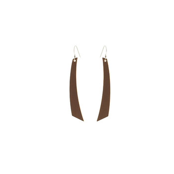 Brown Accent Nickel and Suede Leather Earrings