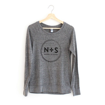 N&S Gray Graphic Slouchy Pullover