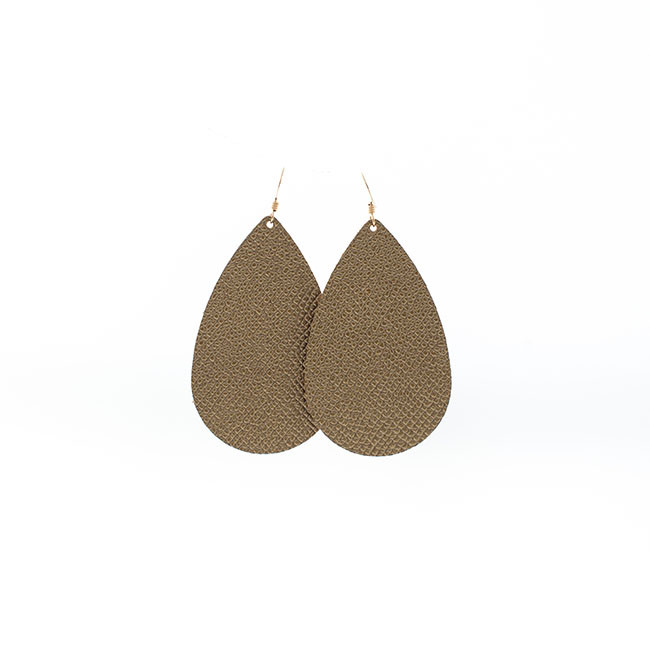 Gala Gold Leather Earrings Nickel and Suede