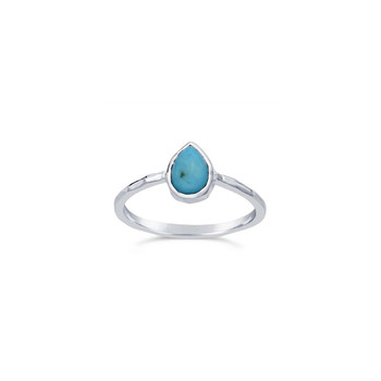 Turquoise Pear Sterling Silver Ring Nickel and Suede