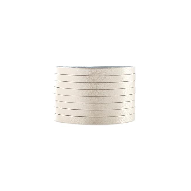 Signature Platinum Slit Leather Cuff Nickel and Suede