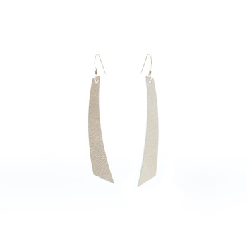 Signature Platinum Nickel and Suede Leather Earrings