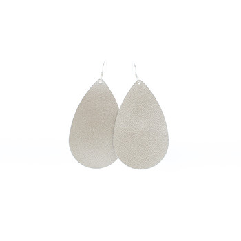 N&S Signature Platinum Leather Earrings