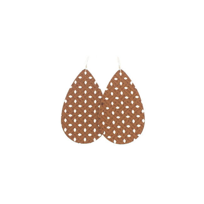 Tan Woven Nickel and Suede Leather Earrings