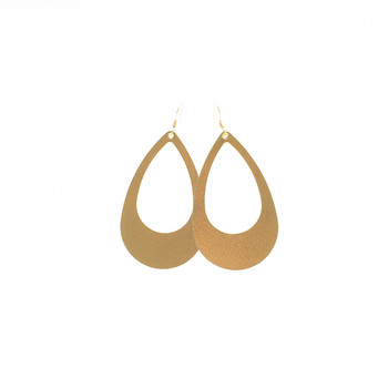 N&S Signature Gold Cut Out Nickel and Suede Leather Earrings
